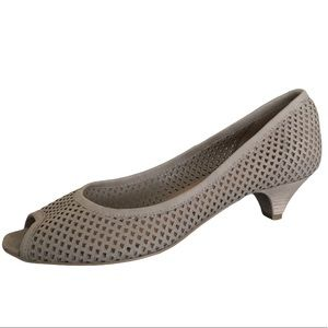 Minelli Perforated Suede Peep Toe Heel Shoes